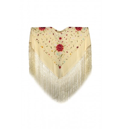 Natural silk hand embroidered shawl MD104