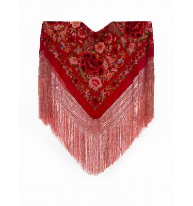 Natural silk hand embroidered shawl G1