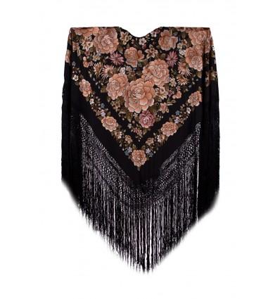 Mantón seda natural bordado a mano G50