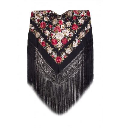 Natural silk hand embroidered shawl G52