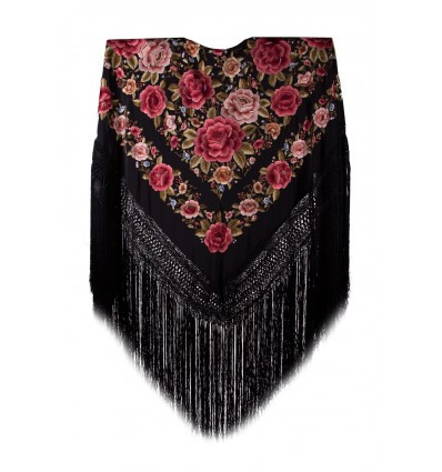 Natural silk hand embroidered shawl G77