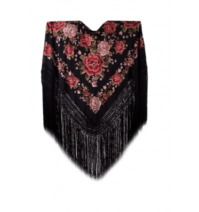 Natural silk hand embroidered shawl G115