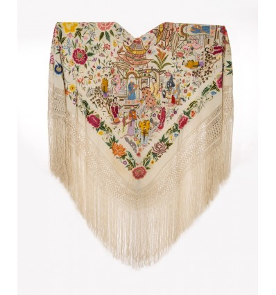 Natural silk embroidered antique shawl M.ANT-66
