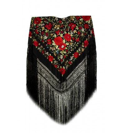 Natural silk hand embroidered shawl G149