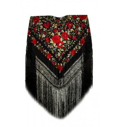 Natural silk hand embroidered shawl G149