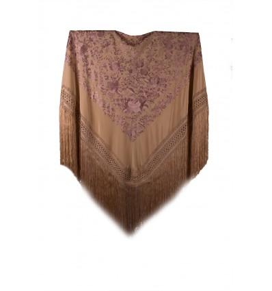 Natural silk hand embroidered shawl G185