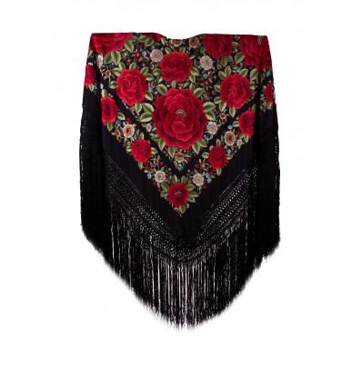 Natural silk hand embroidered shawl G231