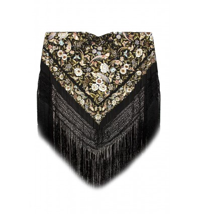 Natural silk hand embroidered shawl G300