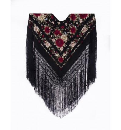 Natural silk hand embroidered shawl G316
