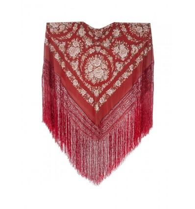 Natural silk hand embroidered shawl G326