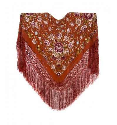 Natural silk hand embroidered shawl G333