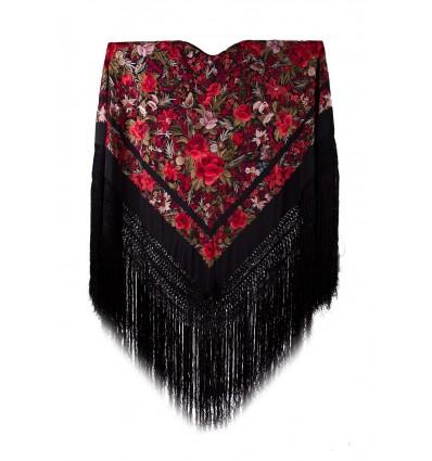 Natural silk hand embroidered shawl G364