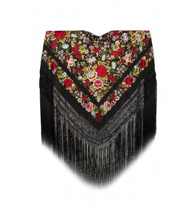 Natural silk hand embroidered shawl G367