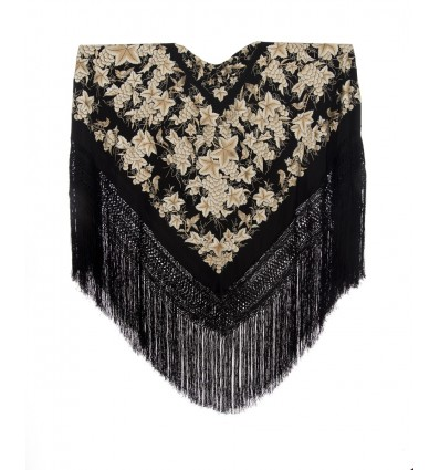 Natural silk hand embroidered shawl G368