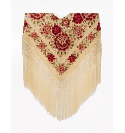 Mantón seda natural bordado a mano G369