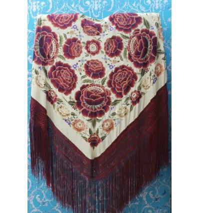 Natural silk hand embroidered shawl G370