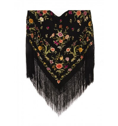 Natural silk hand embroidered antique shawl M.ANT-78