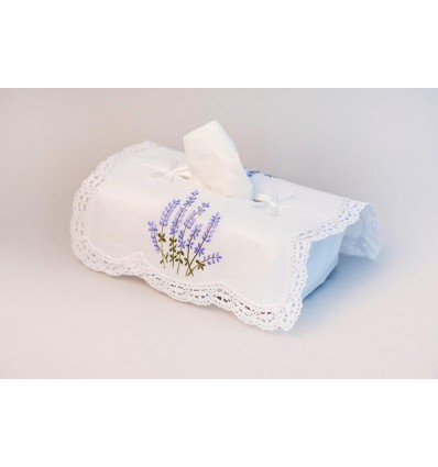 Embroidered tissue box cover K181