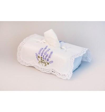 Funda caja pañuelos bordada lavanda K181