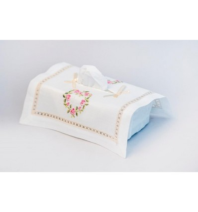 Embroidered tissue box cover K183