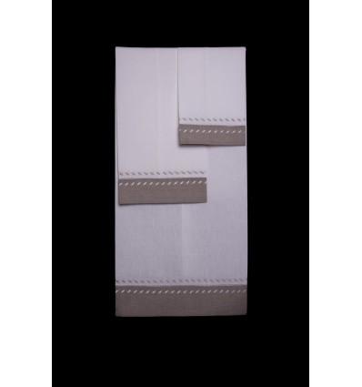 beige border towel set TI493