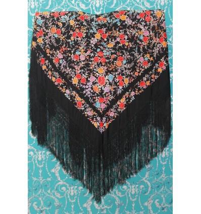 Mantón antiguo seda natural bordado a mano M.ANT-80