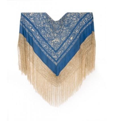 Mantón antiguo seda natural bordado a mano M.ANT-140