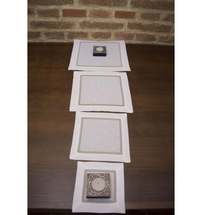 Embroidered linen table runner 491
