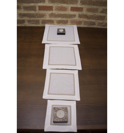 Embroidered linen table runner 491