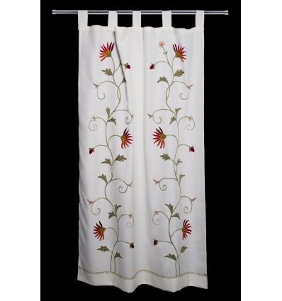 Vorhang bestickt Blumen CR167