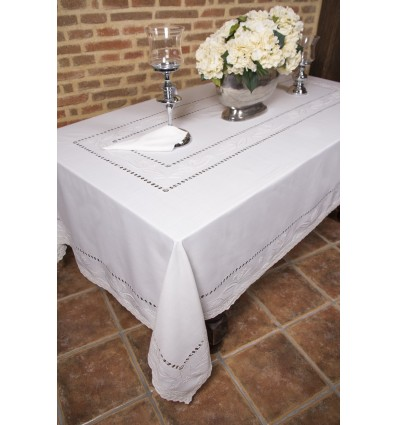 Hand embroidered lace tablecloth 866