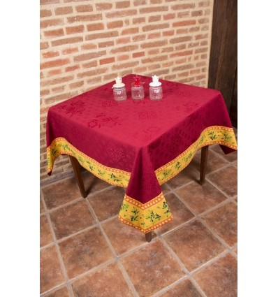 Jacquard tablecloth with yellow border 1301