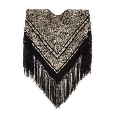 Manteau brodé à la main M.ANT-168 en soie naturelle antique brodée à la main
