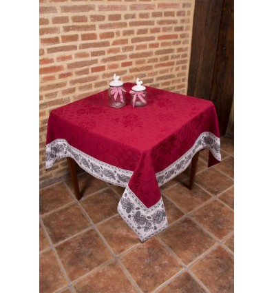 Jacquard tablecloth with red and white border 1303