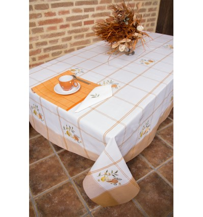 Orange embroidered tablecloth 338