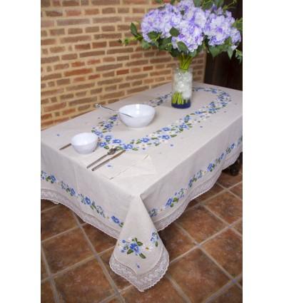 Rustikale Tischdecke blaue Blumen 355