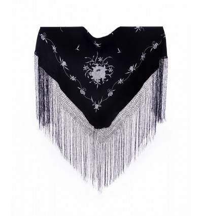 Natural silk hand embroidered shawl MD106