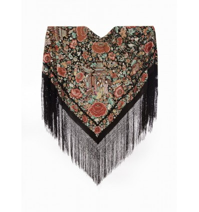 Mantón antiguo seda natural bordado a mano M.ANT-203