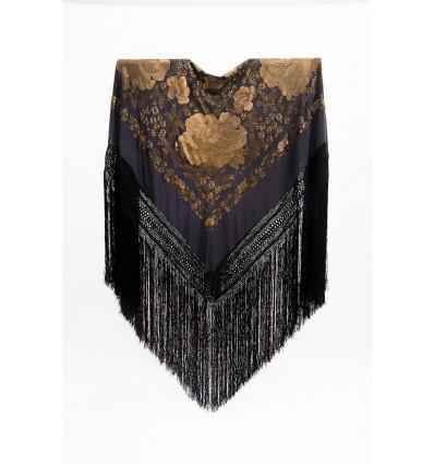 Natural silk hand embroidered shawl G354