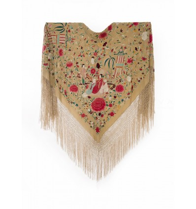 Natural silk hand embroidered antique shawl M.ANT-258