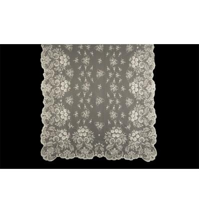 Natural silk hand-embroidered mantilla MT102
