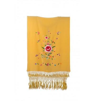 Natural silk hand embroidered rectangular shawl H