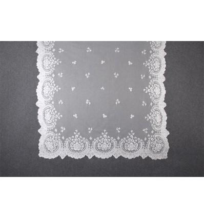 Natural silk hand-embroidered mantilla MT104