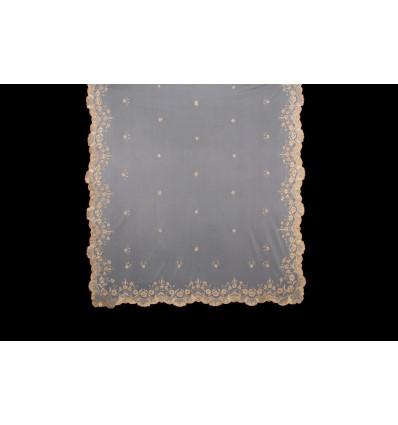 Natural silk hand-embroidered mantilla MT108