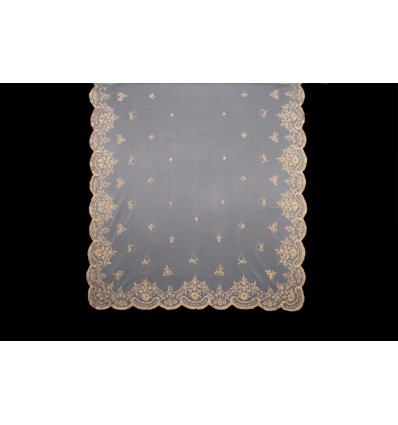 Natural silk hand-embroidered mantilla MT106