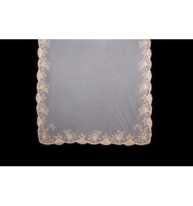 Natural silk hand-embroidered mantilla MT202