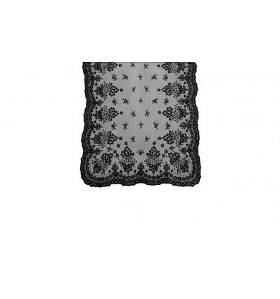 Natural silk hand-embroidered mantilla MTM2010