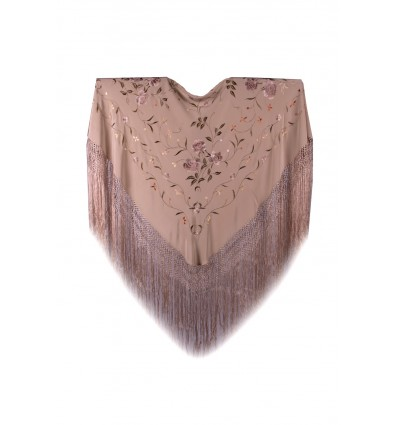 Natural silk hand embroidered shawl MD76