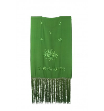 Natural silk hand embroidered rectangular shawl HF