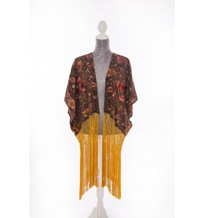 Natural silk hand embroidered jacket CH2